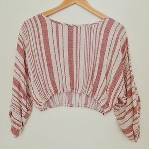 Red and Cream Striped Crop Top